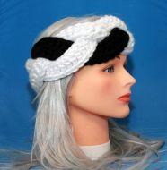 White & Black Braided Earwarmer
